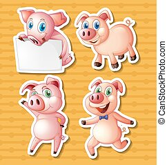 Pigs - Illustration of many pigs with background