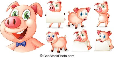 Pigs in different positions illustration