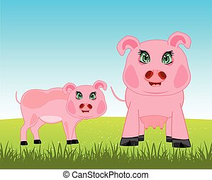 Pigs on meadow
