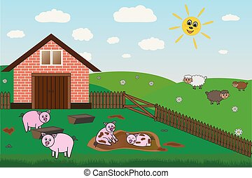pigs, sheep on farm, pasture, vector