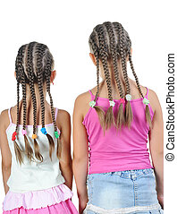 pigtails., girl, deux