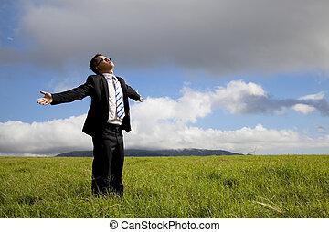 pihenés, businessman van, képben látható, a, kaszáló