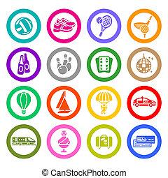 pihenés, szünidő, &, utazás, ikonok, állhatatos