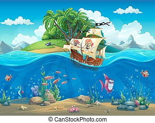 Piirate ship on background of tropical island