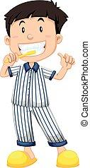 pijama, cepillar dientes, niño, rayado