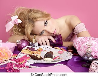 pijany, partia, księżna, barbie, różowy, fason, kobieta