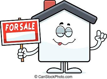 pijany, rysunek, dom, sprzedaż