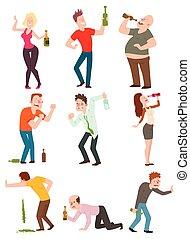 pijany, wektor, illustration., ludzie