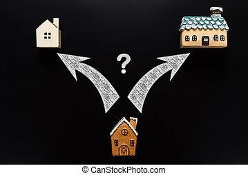 pijl, af)knippen, milieu, wijzende, woning, vraagteken, huisen, kleiner, included, steegjes, groter, grootte