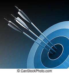 pijl, het slaan, de, centrum, van, doel, -, succes, handel concept