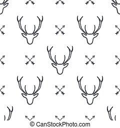 pijl, hoofd, vrijstaand, icons., pattern., hertje, wallpaper., illustratie, seamless, symbolen, achtergrond., vector, retro, deers, dier, wild, witte , liggen