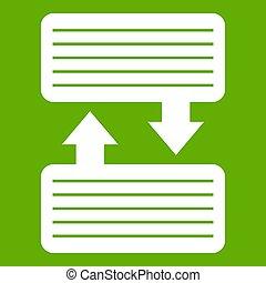 pijl, infographic, blokjes, groene, pictogram