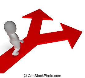 pijl, keuze, optredens, opties, alternatieven, of, kies