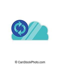 pijl, update, wolk, gegevensverwerking