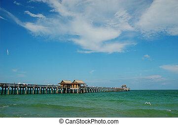 pijler, strand, florida, visserij, napels