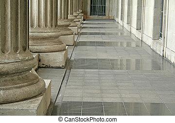 pijlers, buiten, rechtsgebouw, order
