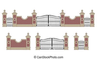 pijlers, poort, nagemaakt, ijzer