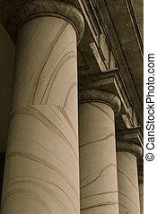 pijlers, symbolizing, wet, opleiding, en, regering