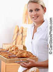 pijn, bakker, jonge, au, vrouwlijk, croissants, chocolats
