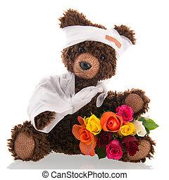 pijn, op, vrijstaand, beer, achtergrond, witte bloemen