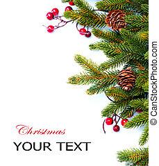 pijnboom, vrijstaand, ontwerp, kerstmis., witte , grens