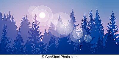 pijnboom woud, landscape, berg, hemel, hout