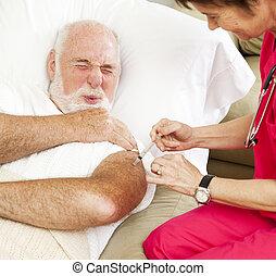 pijnlijk, gezondheidszorg, -, injectie, thuis