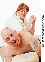 pijnlijk, masseren