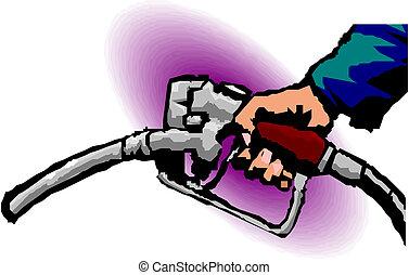 pijp, gas, hand, pomp, vasthouden, brandstof