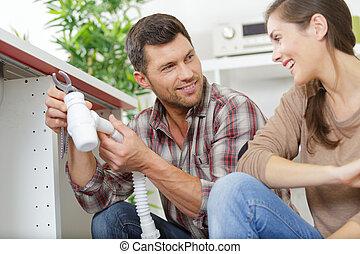 pijp, installatiebedrijf, mannelijke , repareren, gootsteen