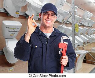 pijp, installatiebedrijf, moersleutel, handen