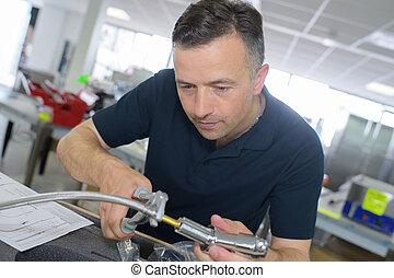 pijp, repareren, installatiebedrijf, mannelijke , zinken