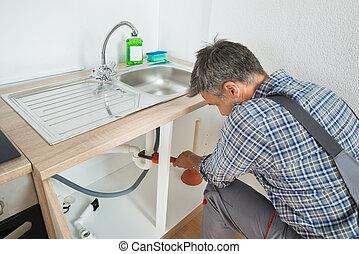 pijp, repareren, installatiebedrijf, zinken, keuken