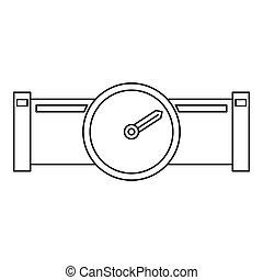 pijp, stijl, schets, meter, water, pictogram