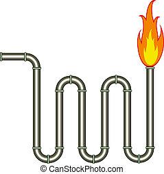 pijp, vector, burning