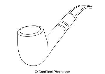 pijp, vector, tabak