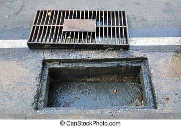 pijp, verstopte, draineren, afvalwater