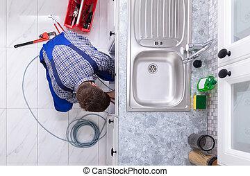 pijp, zinken, verstopte, installatiebedrijf, poetsen