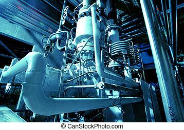 pijpen, buizen, mechanisme, en, stoom, turbine, op, een,...