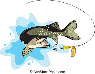 pike and lure fishing, vector illustration