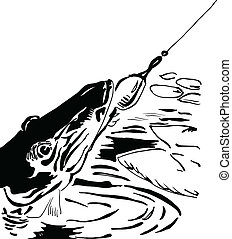 Pike fishing lure, sport fishing, Vector illustration.