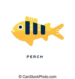 Pike, freshwater fish geometric flat style design vector Illustration