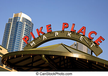 Pike Place Maket - Pike Place street sign near famous Pike...