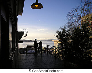 Pike Place Market, Seattle - The view of Elliot Bay from the...