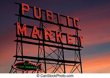 pike, seattle, lugar, mercado