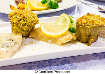 Pike with vegetables