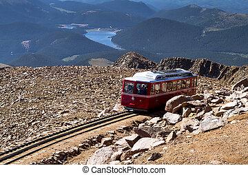 Pikes Peak Cog Railway car traveling doen from top of Pikes ...