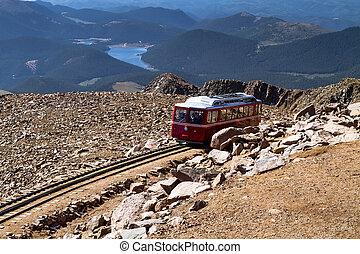 Pikes Peak Cog Railway car traveling doen from top of Pikes...