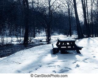piknik, alatt, a, hó