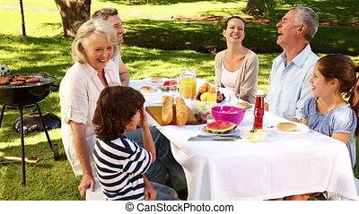 piknik, birtoklás, család, boldog